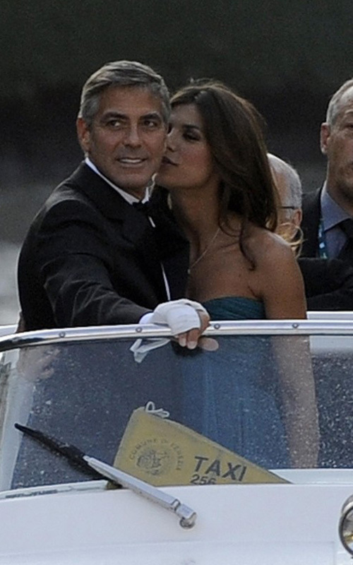 George Clooney and girlfriend Elisabetta Canalis at the screening of Men Who Stare At Goats in Venice