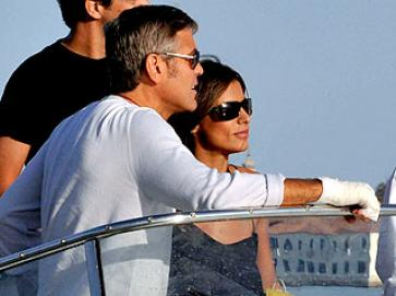 George Clooney and current girlfriend Elisabetta Canalis in Venice