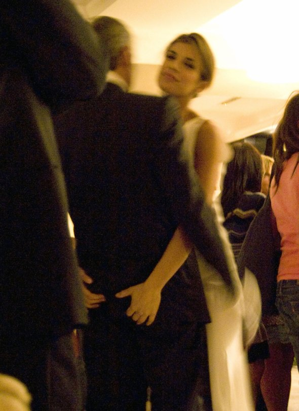 George Clooney and Elisabetta Canalis on the dance floor